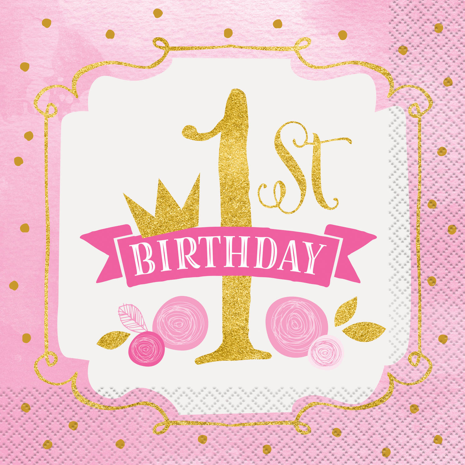 Pink and Gold Girls First Birthday Party Lunch Napkins, 16ct