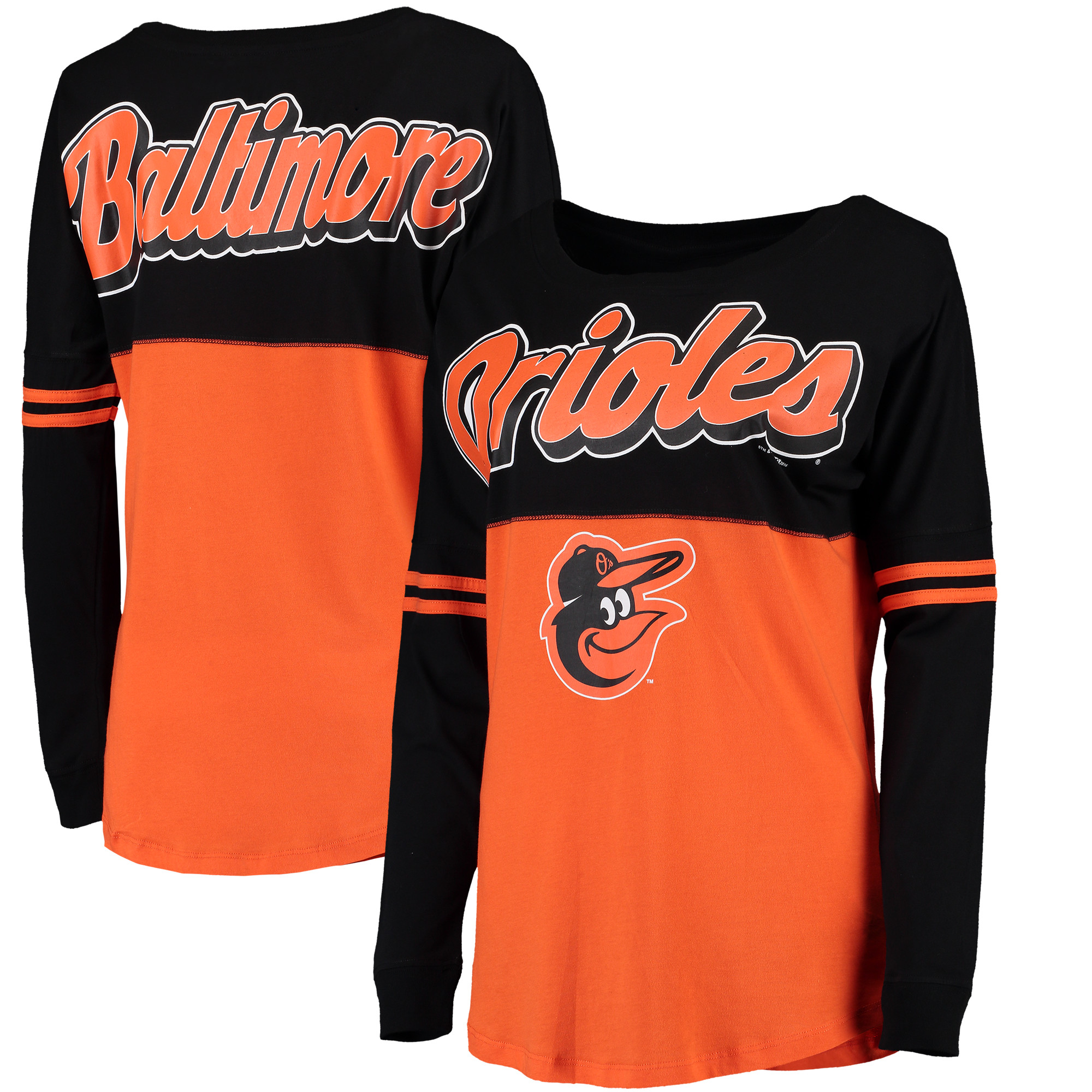Baltimore Orioles 5th & Ocean by New Era Women's MLB Baby Jersey Varsity Crew Boyfriend Long Sleeve T-Shirt - Orange