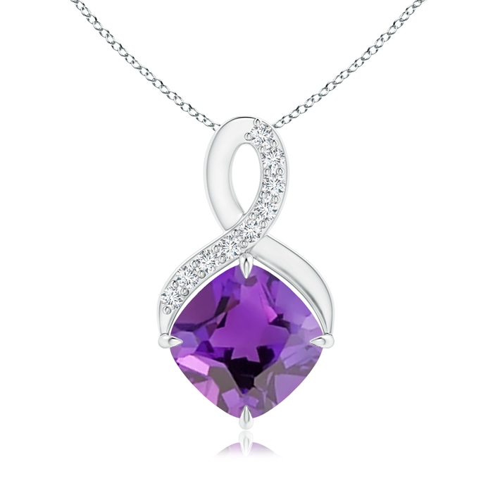 February Birthstone Pendant Necklaces Solitaire Claw Cushion Amethyst Infinity Symbol Pendant with Diamonds in .925... by Angara.com