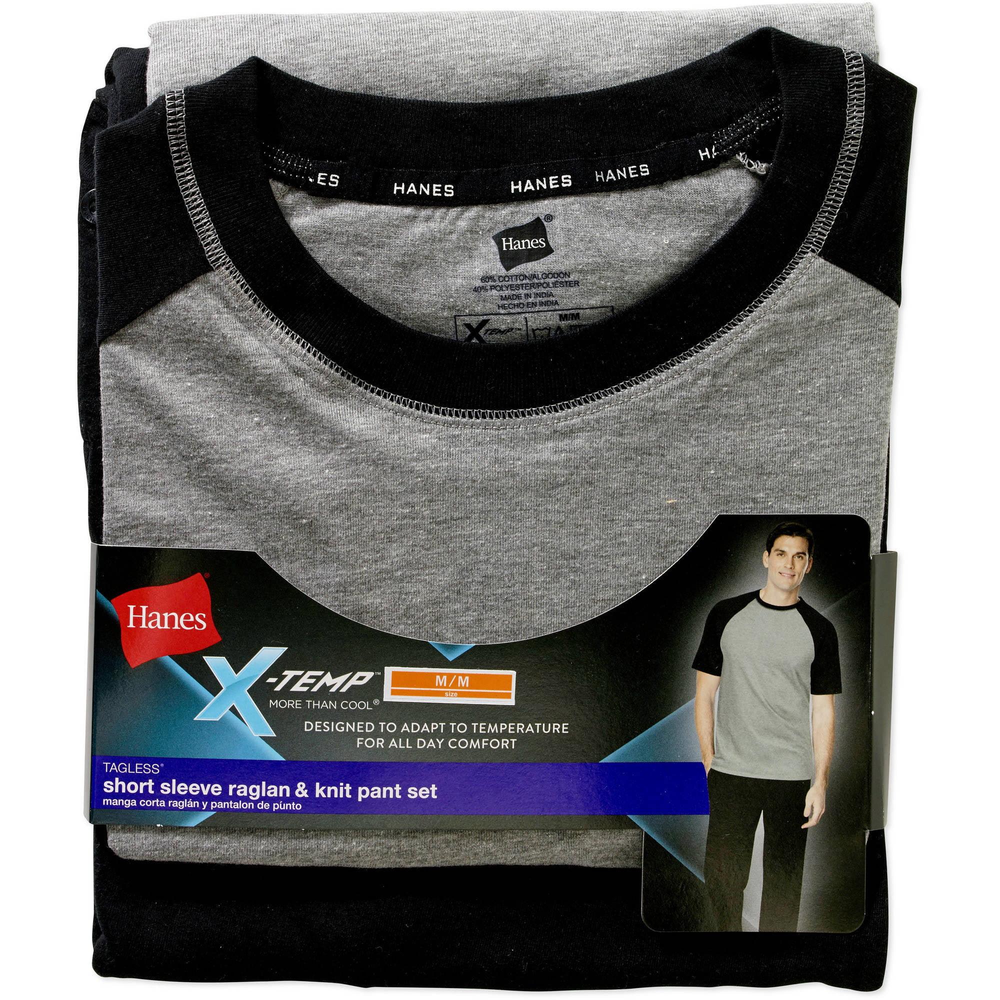 Hanes Men's X-Temp Short Sleeve Raglan and Knit Pant Set