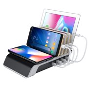 Peroptimist USB Charging Station, 5 in 1 Multiple Charger Dock Organizer Stand with QI Wireless Charging Pad for Phones/Tablets/Cameras/Headsets/Speakers