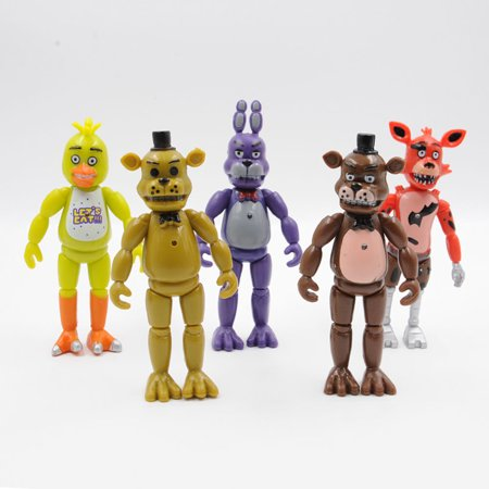 5 Pcs Five Nights At Freddys 6  Fnaf Action Figures With Light Toys
