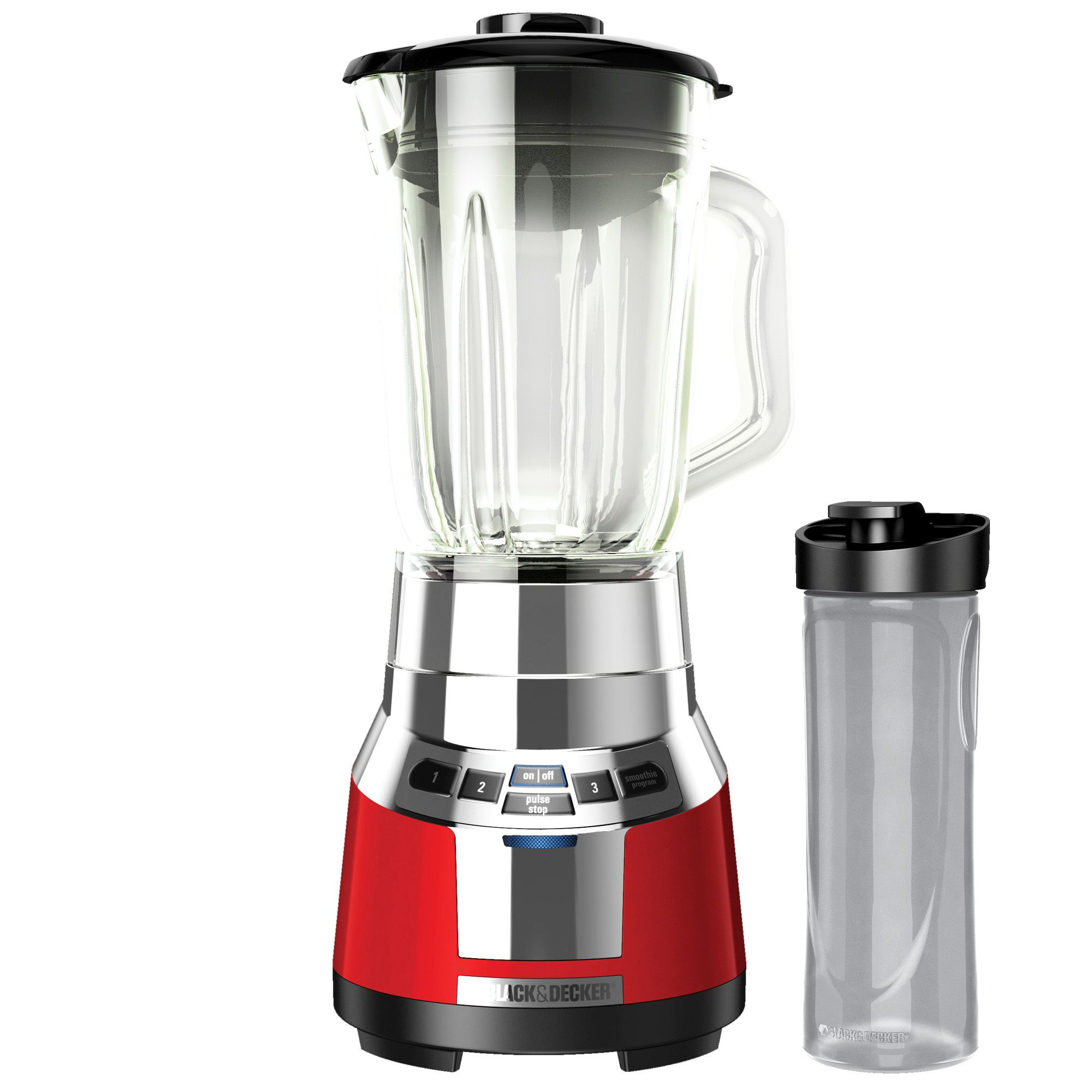 Black & Decker Fusionblade Digital Blender With Personal Smoothie Jar - 700 W - 20 Fl Oz - 4 Speed Setting (s) - 6 Cup - Glass, Stainless Steel - Red, Silver (bl1821rg-p)
