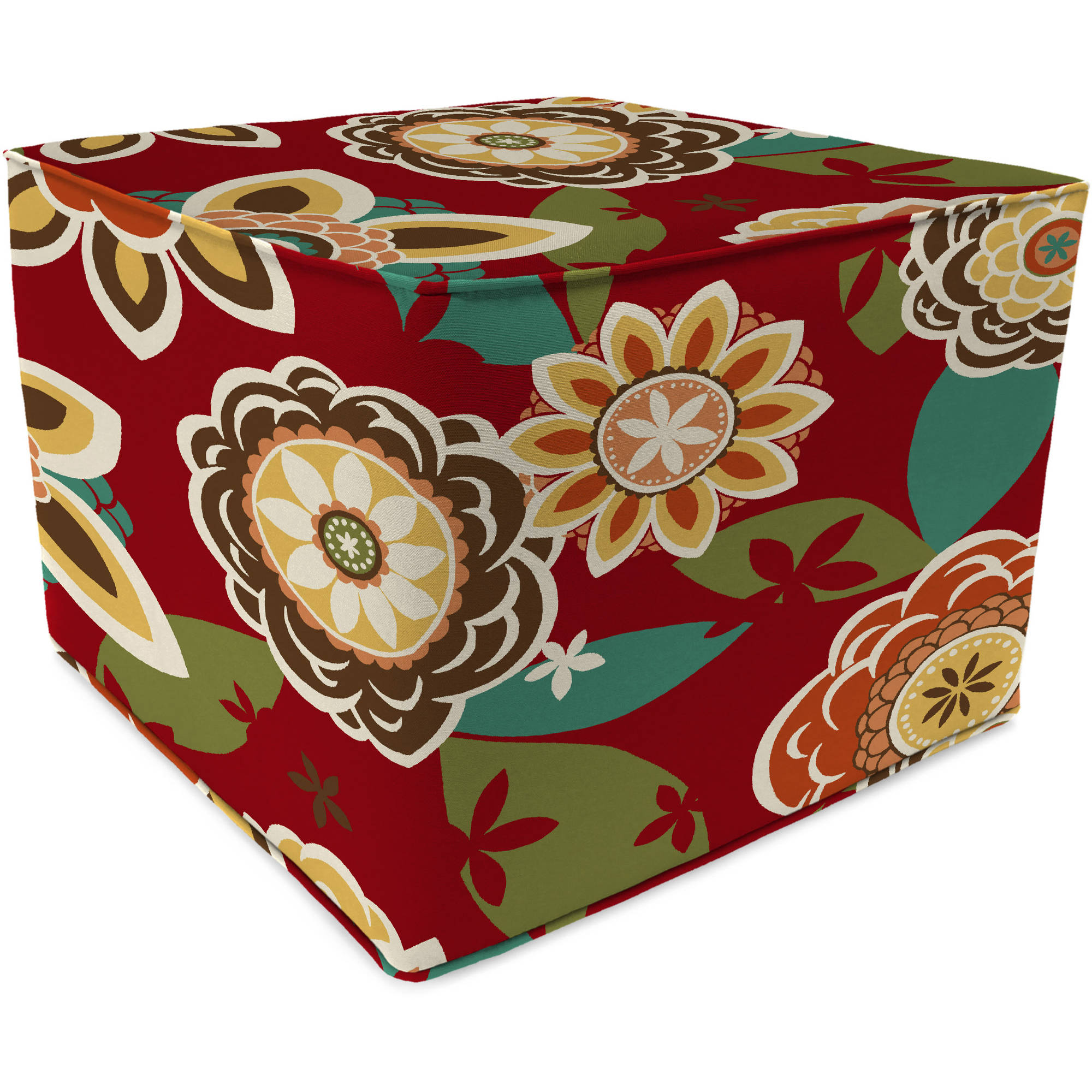 Jordan Manufacturing Square Outdoor Patio Pouf Ottoman, Annie Cherry