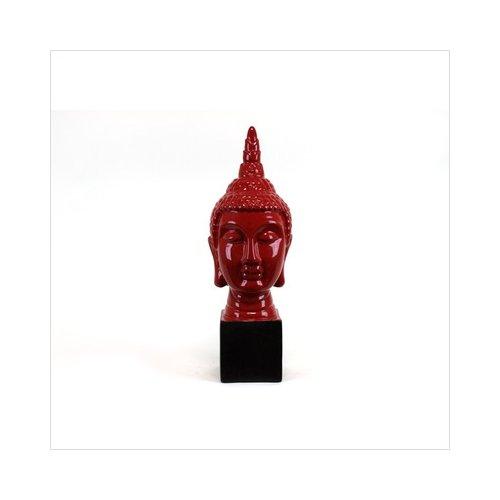 Urban Trends 24'' Red Ceramic Pedestal Buddha Statue I