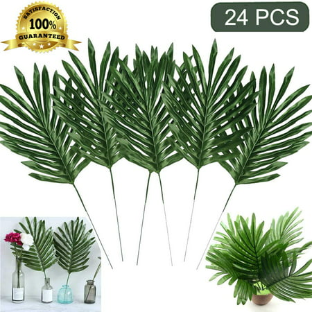 Coolmade Faux Palm Leaves with Stems Artificial Tropical Plant Imitation Safari Leaves Hawaiian Luau Party Suppliers Decorations (24 Stemmed) - Safari Decorations