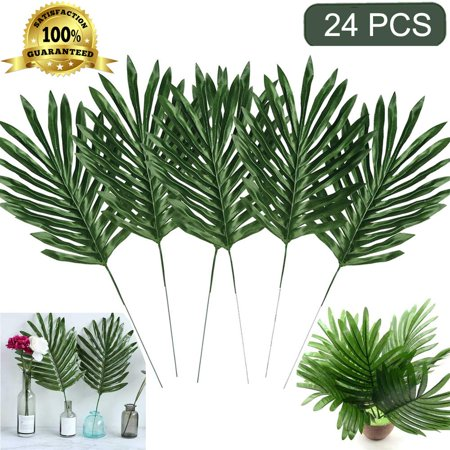 Coolmade Faux Palm Leaves with Stems Artificial Tropical Plant Imitation Safari Leaves Hawaiian Luau Party Suppliers Decorations (24 Stemmed)