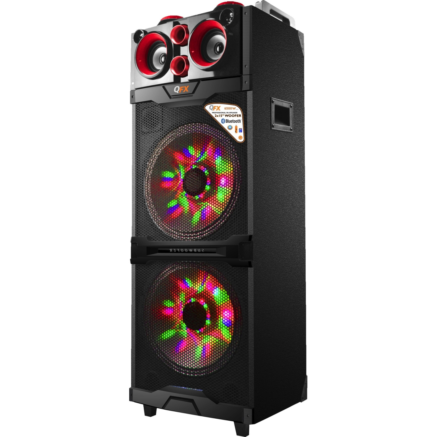 """Qfx Pbx 515200btl Red Portable Bluetooth 2/15"""" Pa Speaker With Led Light Show (red)"""