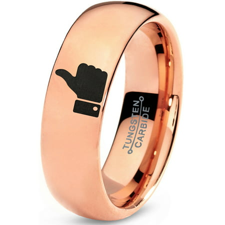 Tungsten Thumbs Up Emoji Band Ring 7mm Men Women Comfort Fit 18k Rose Gold Dome Polished