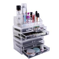 Zimtown 7 Drawers Acrylic Tower Organizer Cosmetic Makeup Jewelry Cube Storage Case