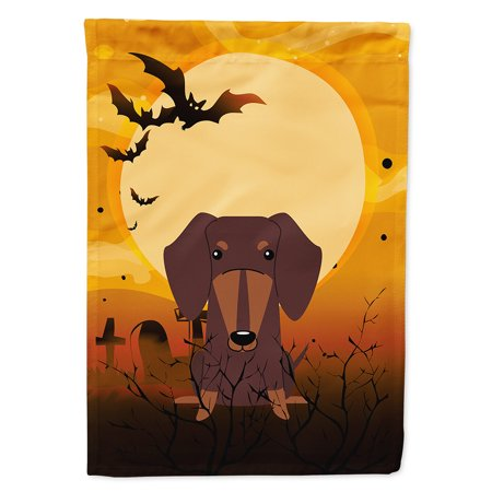 Halloween Dachshund Chocolate Flag Canvas House Size - Dachshund Halloween