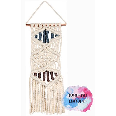 Chic Bedroom Decor (Macramé Wall Hanging, Small Triple Diamond Style, Fringe Tassel Banner - Woven Boho Shabby Chic Bohemian Decor - Apartment Dorm Living Room Bedroom Baby Nursery Art Accent – 8