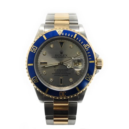 Rolex Submariner 16613 Silver Serti dial and an 18kt Yellow Gold unidirectional Bezel (Certified