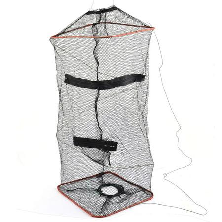 Unique Bargains 8 9  X 8 7  X 18 9  Foldable Fishing Landing Net Fish Keepnet Cage Shrimp Black Green Red Silver Tone