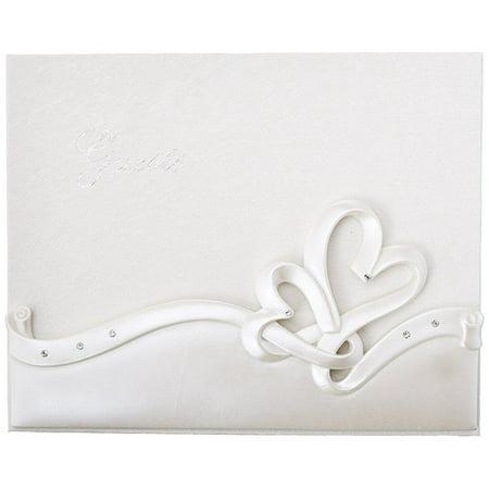 Fashioncraft Interlocking Hearts Design Wedding Guest Book White (2402) - Diy Wedding Guest Book