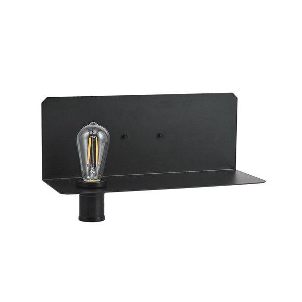 Globe Electric Functional Series 1-Light Black Plug-In Wall Sconce with Shelf, LED Bulb Included, 51397