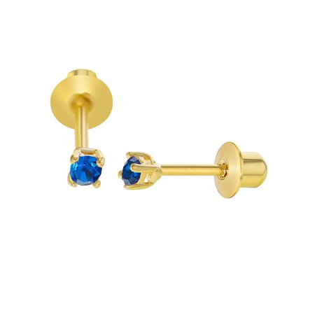 18k Gold Plated Blue Crystal Small Baby Screw Back Earrings