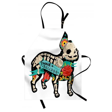 Bulldog Apron Gothic Artwork Puppy Silhouette with Skeleton and Colorful Flowers French Bulldog, Unisex Kitchen Bib Apron with Adjustable Neck for Cooking Baking Gardening, Multicolor, by Ambesonne](Puppy Skeleton)