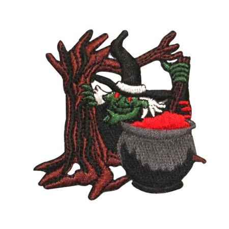 ID 0896 Witch and Cauldron Patch Halloween Scary Embroidered Iron On Applique - Scary Witches