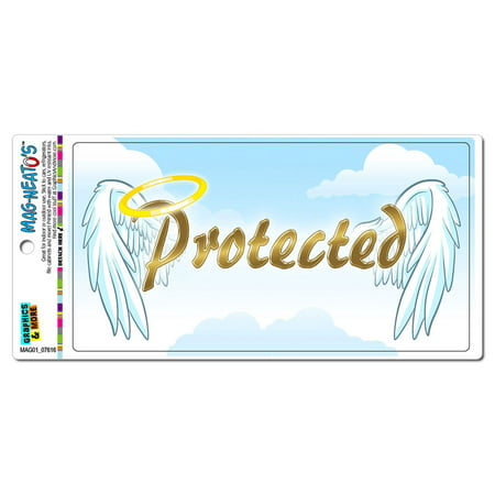 Protected with Halo and Angel Wings - Religious Christianity MAG-NEATO'S(TM) Car/Refrigerator Magnet