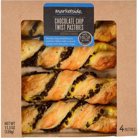 Marketside Chocolate Chip Twist Pastries 113 Oz 4 Count Walmartcom