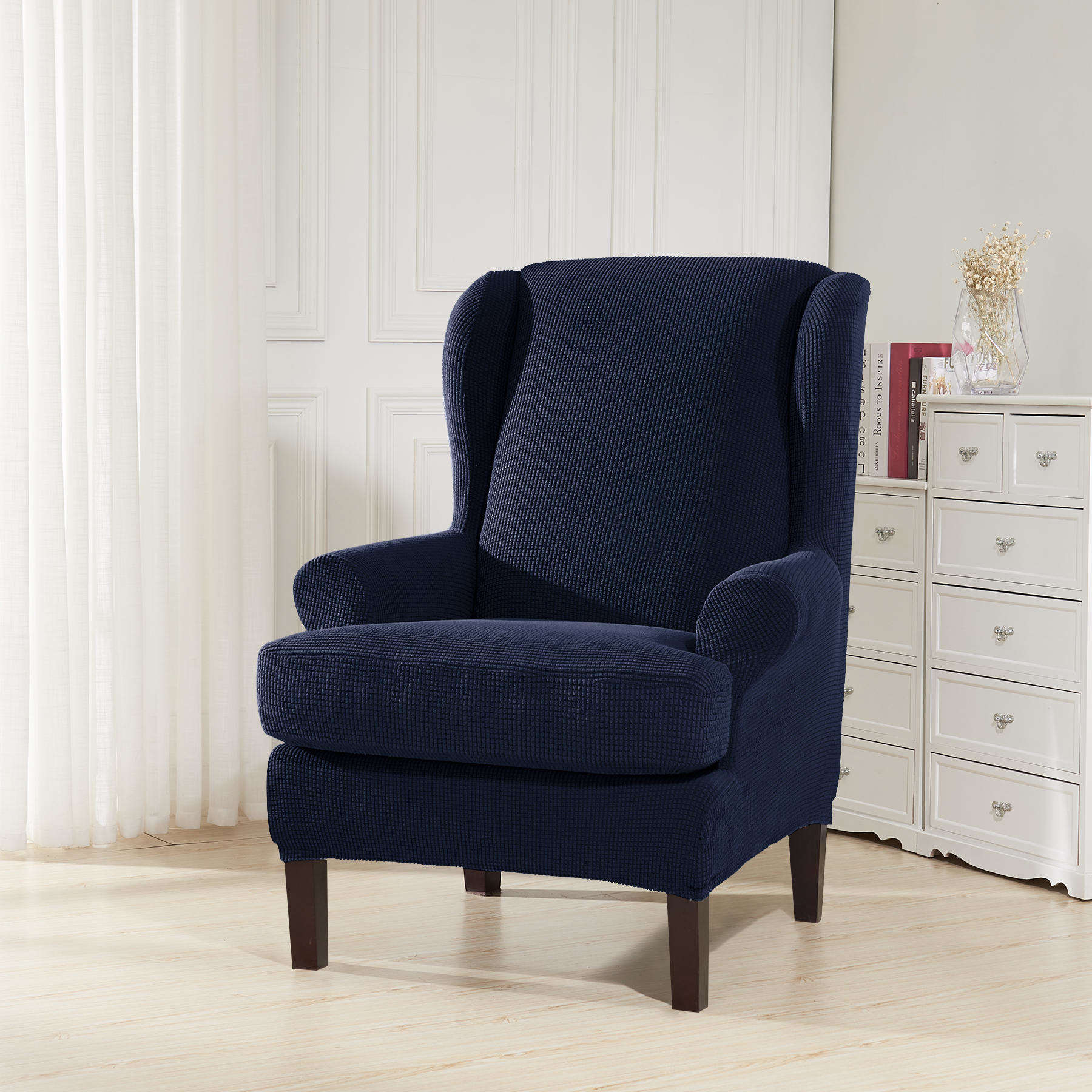 Subrtex 2 Piece Spandex Waffle Fabric Stretch Wingback Chair Slipcovers (Wing Chair, Navy)