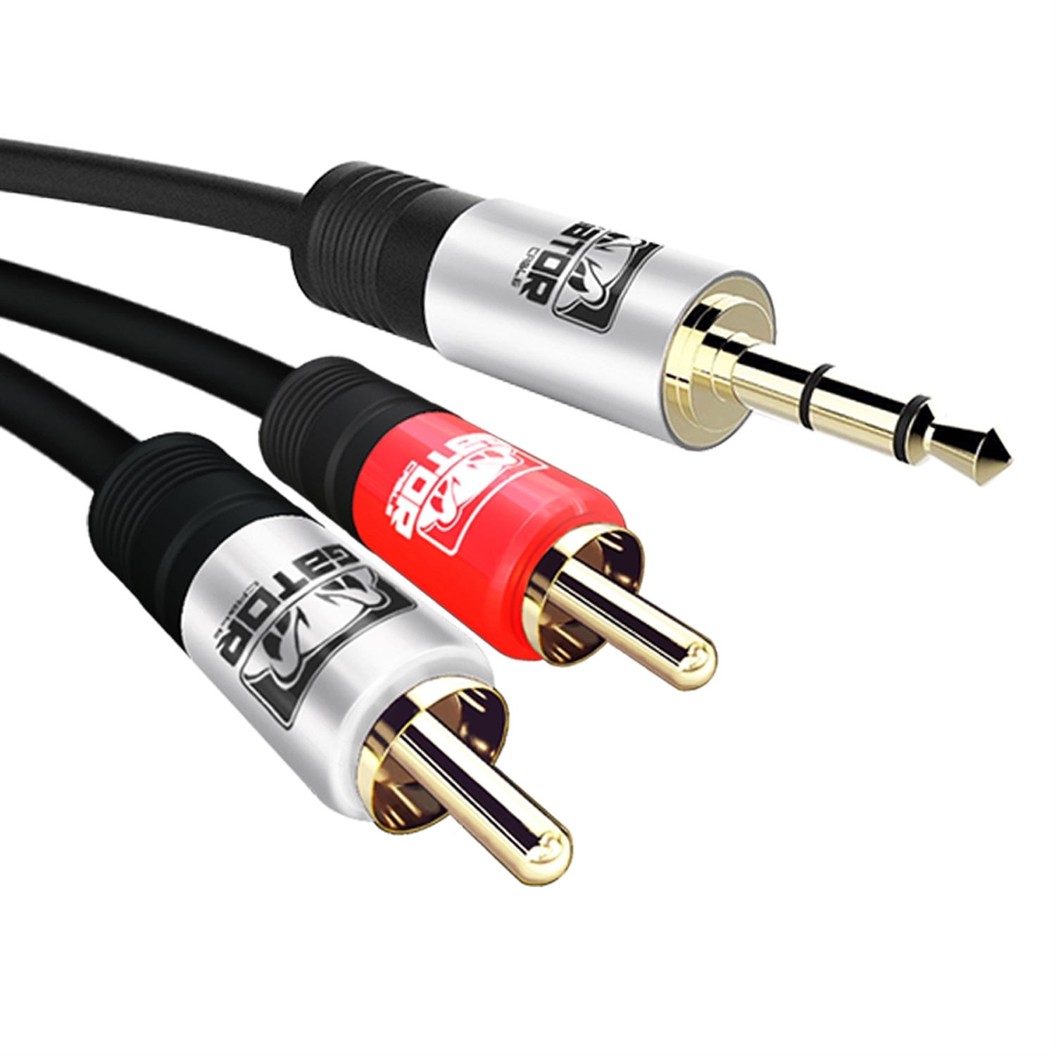 GATOR CABLE AUX to 2 RCA cable - SILVER/RED-SILVER - 15 FT - Gold Plated Connectors - Auxiliary 3.5mm Audio Plug Stereo Phone Cable Cord