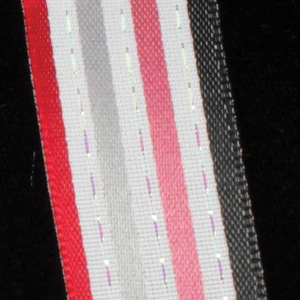 "Stripes and Dashes Black and Red Thin Striped Wired Craft Ribbon 7/8"" x 54 Yards"