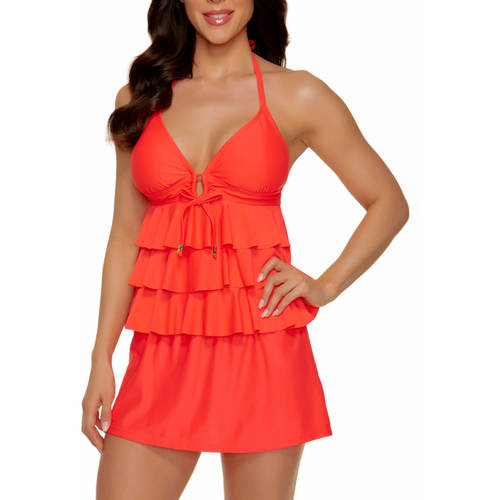 Catalina Women's Solid Triple Tier Halterkini & Skirted Swimsuit Bottom Value Bundle