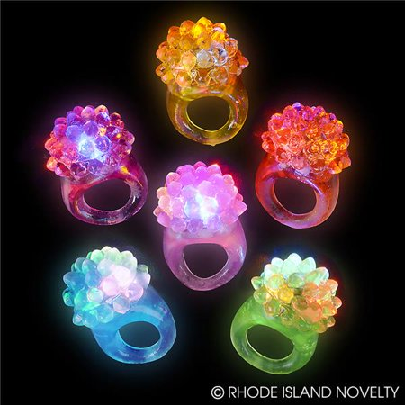 Flashing LED Bumpy Jelly Ring Light-Up Toys, Glow In The Dark Bumpy Rings - for Party Favors, Event Favors, Raves, Concert Shows, Gifts (Pack of 12)