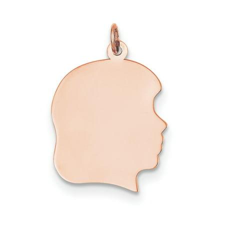 14K Rose Gold Plain Large .011 Gauge Facing Right Engraveable Girl Head Cha - image 3 de 3