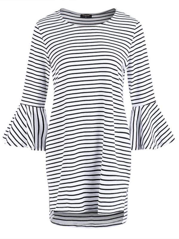 Striped Maternity Tops Loose Irregular 3/4 Flare Sleeve Soft