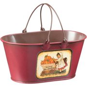 Farm Girl with Pumpkins Red Decorative Bucket
