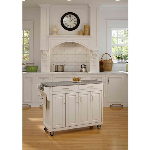 Home Styles Create-a-Cart, White with Granite Top