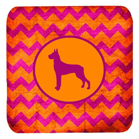 Great Dane Chevron Pink And Orange Foam Coasters, Set Of 4 - image 1 de 1