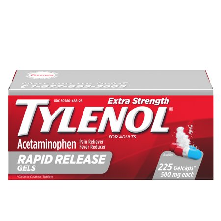 Tylenol Extra Strength Rapid Release Gels with Acetaminophen, 225 ct