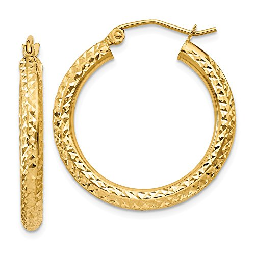 14K Yellow Gold 3.00MM Diamond-Cut Round Tube Hoop Earrings
