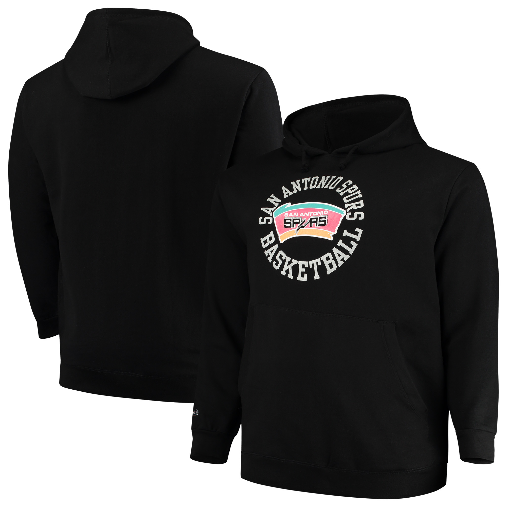 San Antonio Spurs Mitchell & Ness Big & Tall Throwback Logo Pullover Hoodie - Black