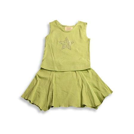Psketti - Little Girls Tank Skirt Set Celery Green / - Neon Green Outfit Ideas