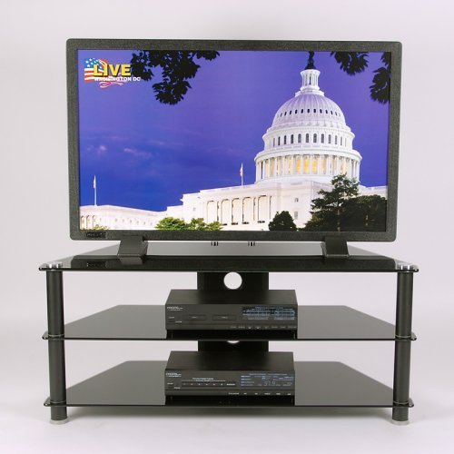 RTA Home and Office TVM-020 B Plasma TV Stand BLACK Tempered Glass with Wire management