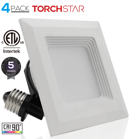 Torchstar Square Recessed Lighting For Bedroom 4 Inch 2700k Soft White Pack Of