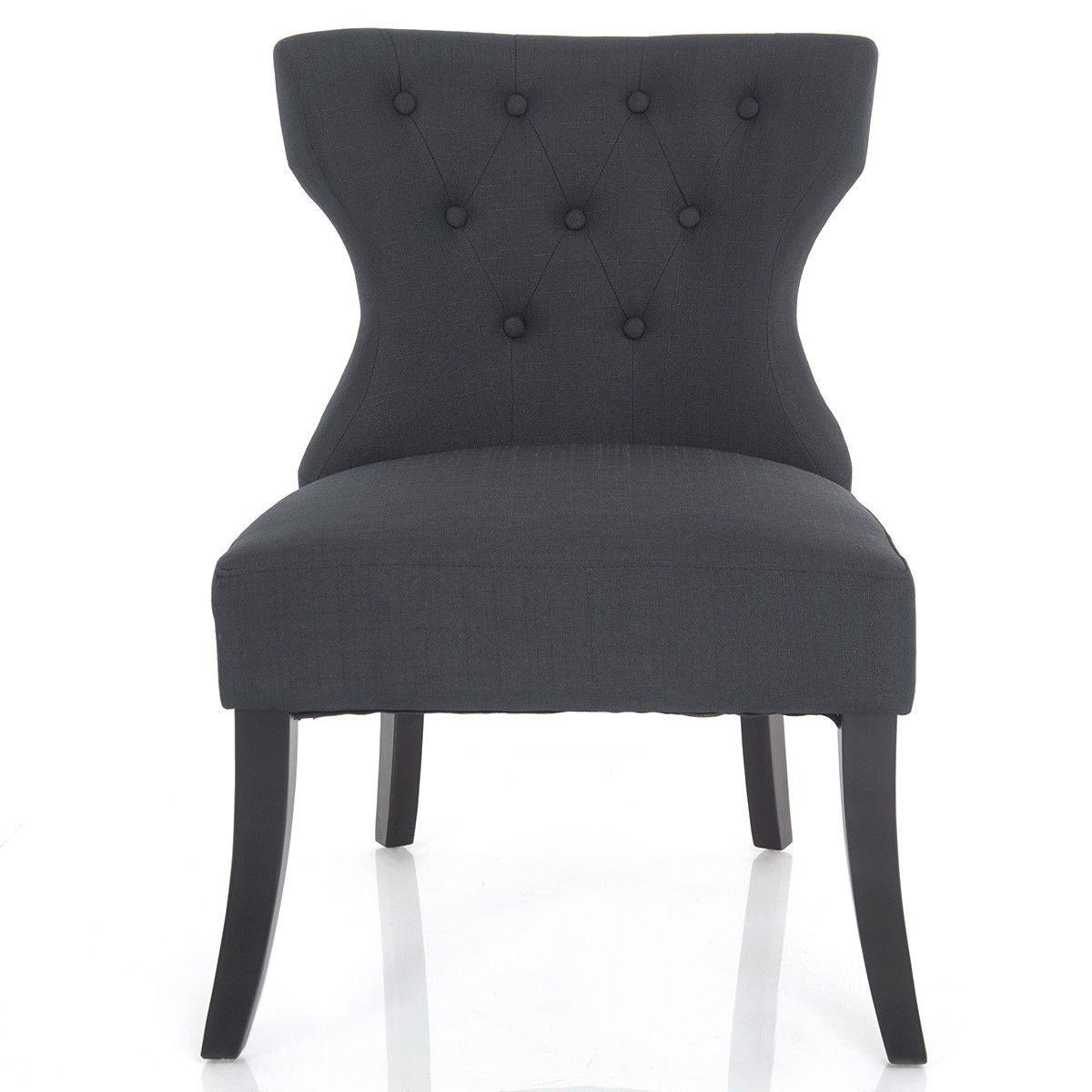 Gymax Dining Chair Linen Fabric Tufted Back Armless Upholstered Living Room Furniture