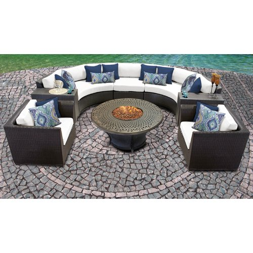 TK Classics Barbados 08I Wicker 8 Piece Fire Pit Patio Set