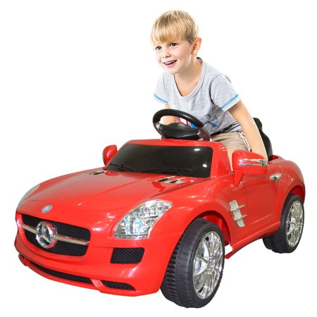 Costway red mercedes benz sls r c mp3 kids ride on car for Toys r us motorized cars