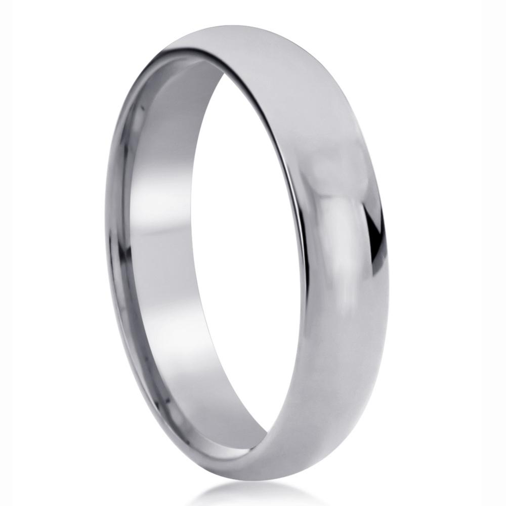 Pristine J 14K White Gold Wedding Band 5mm Domed Classy Plain Comfort Fit Ring