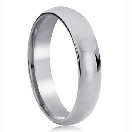 - Men Women 14K White Gold Wedding Band 5mm Domed Classy Plain Comfort Fit Ring
