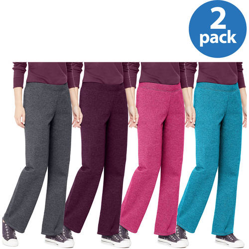 Hanes Women's Essential Fleece Sweatpants, Regular and Petite Length 2 Pack Value Bundle