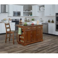 Farmhouse Basics Kitchen Island with Granite and Drop Leaf in Vintage Oak and Two Matching Stools