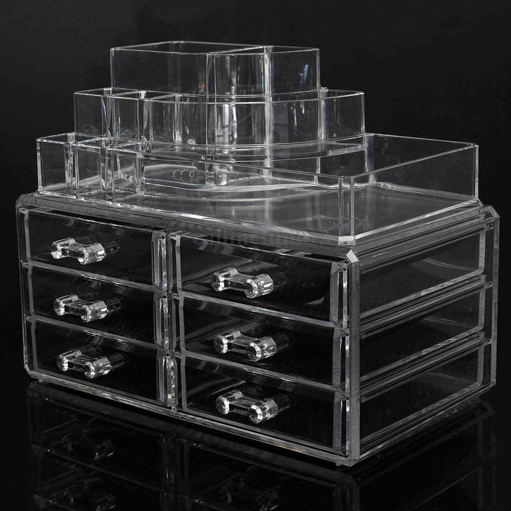 Ktaxon Clear Acrylic Cosmetic Organizer Makeup Case Holder Drawers Jewelry Storage Box