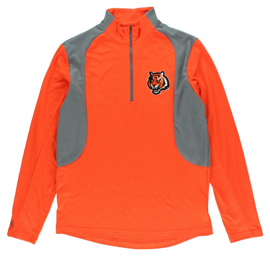 Antigua Mens Cincinnati Bengals Delta Quarter Zip Pullover Jacket Orange by